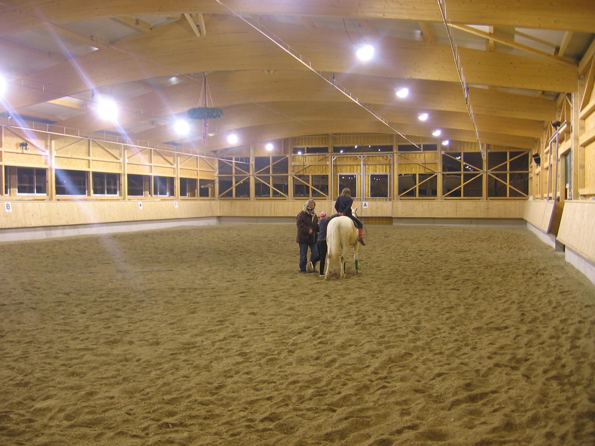 Rijhal Eberhardzell Stallbeleuchtung Pferde Stalverlichting Paarden d'éclairage Équin barn lighting Horses